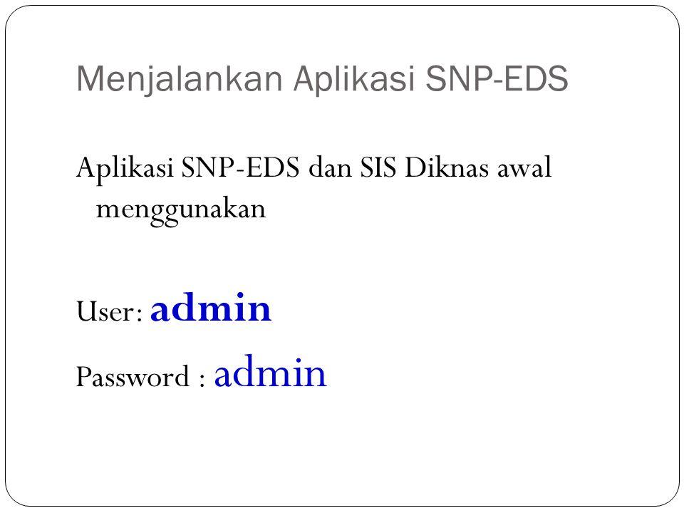 Menjalankan Aplikasi SNP-EDS Aplikasi SNP-EDS dan SIS Diknas awal menggunakan User: admin Password : admin