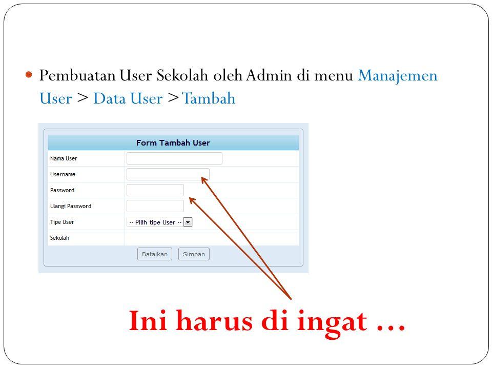 Pembuatan User Sekolah oleh Admin di menu Manajemen User > Data User > Tambah Ini harus di ingat …