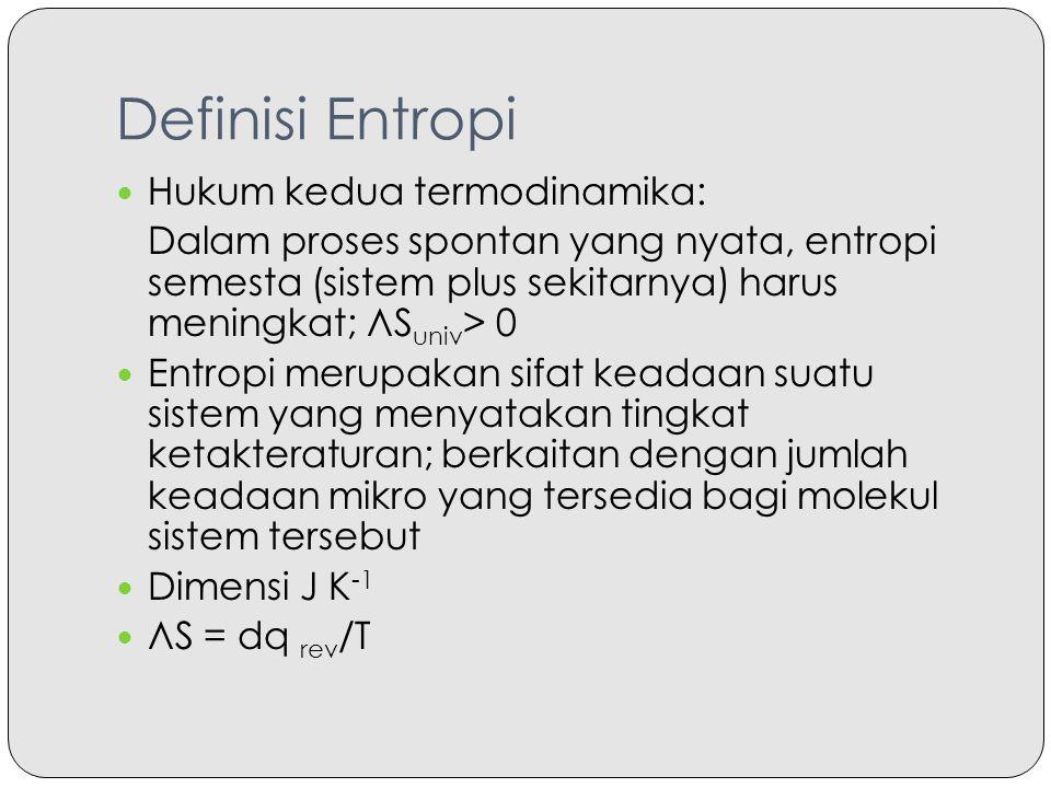 Definisi Entropi Hukum kedua termodinamika: Dalam proses spontan yang nyata, entropi semesta (sistem plus sekitarnya) harus meningkat; ЛS univ > 0 Ent