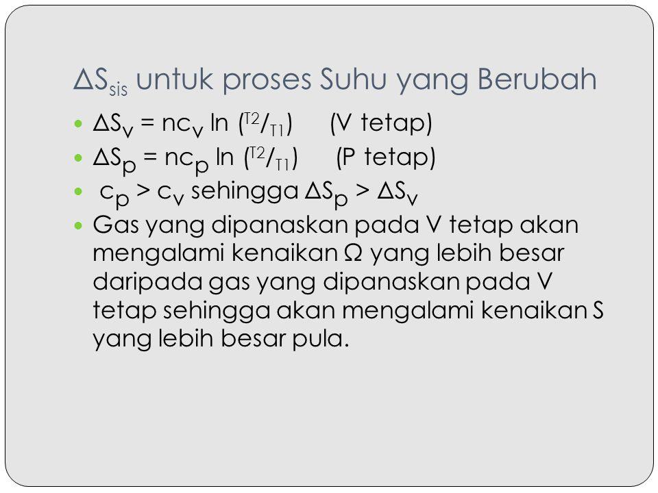 ΔS sis untuk proses Suhu yang Berubah ΔS v = nc v ln ( T2 / T1 ) (V tetap) ΔS p = nc p ln ( T2 / T1 ) (P tetap) c p > c v sehingga ΔS p > ΔS v Gas yan