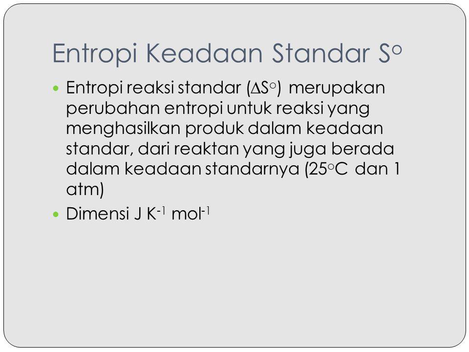 Entropi Keadaan Standar S o Entropi reaksi standar (∆S o ) merupakan perubahan entropi untuk reaksi yang menghasilkan produk dalam keadaan standar, da