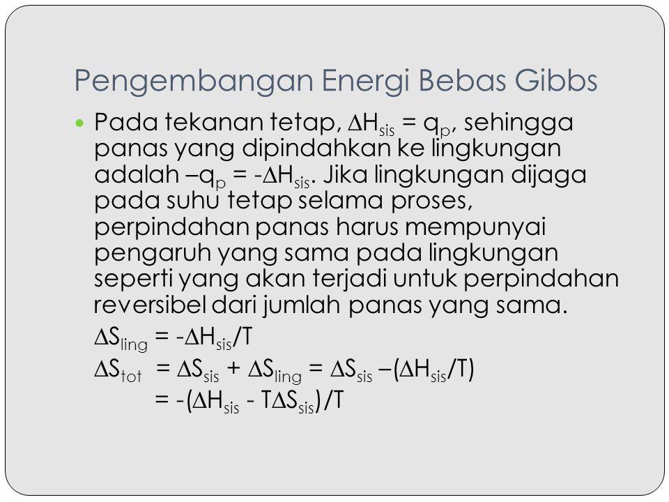 Pengembangan Energi Bebas Gibbs Pada tekanan tetap, ∆H sis = q p, sehingga panas yang dipindahkan ke lingkungan adalah –q p = -∆H sis. Jika lingkungan