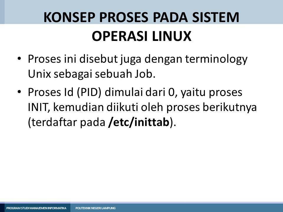KONSEP PROSES PADA SISTEM OPERASI LINUX Proses ini disebut juga dengan terminology Unix sebagai sebuah Job. Proses Id (PID) dimulai dari 0, yaitu pros