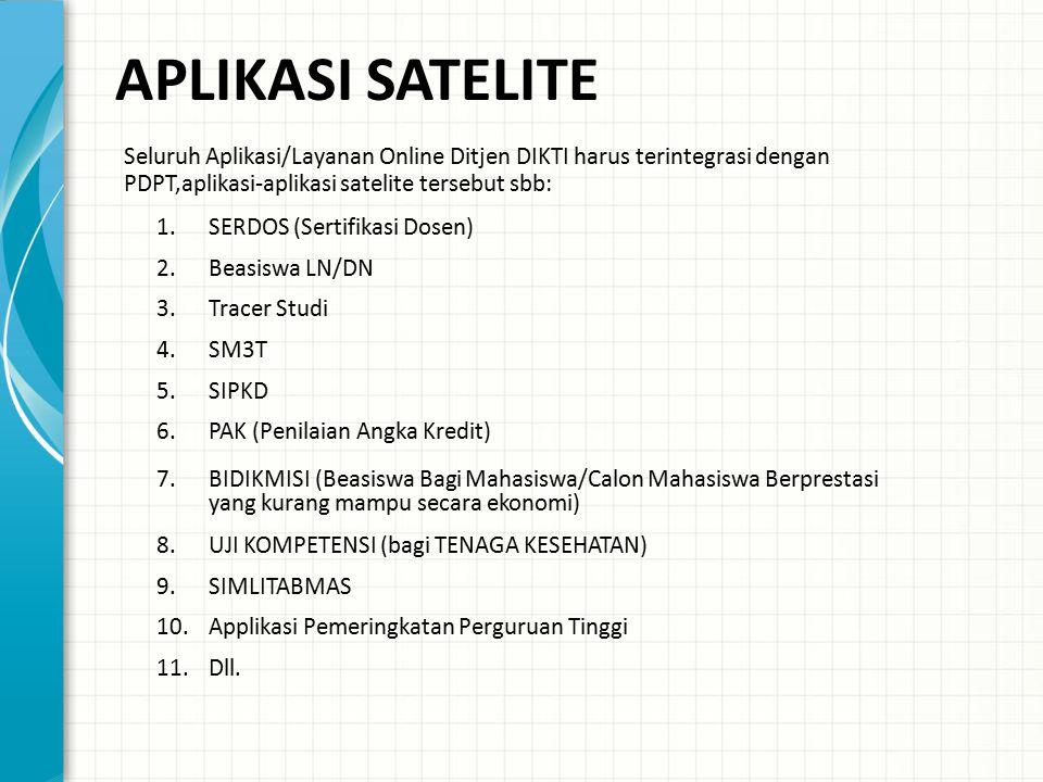 APLIKASI SATELITE Seluruh Aplikasi/Layanan Online Ditjen DIKTI harus terintegrasi dengan PDPT,aplikasi-aplikasi satelite tersebut sbb: 1.SERDOS (Serti