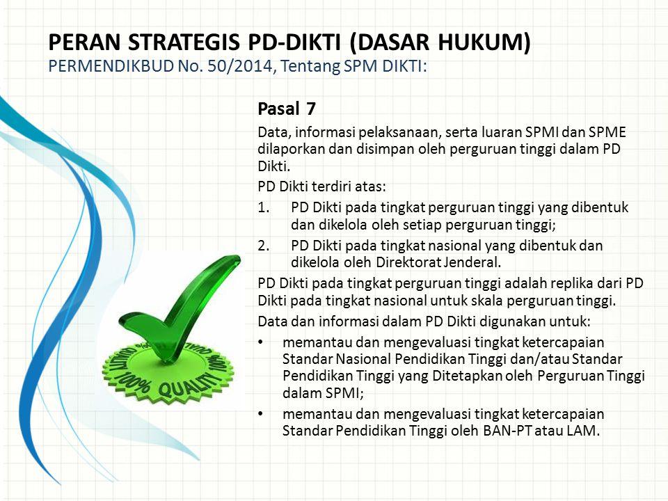 PERAN STRATEGIS PD-DIKTI (DASAR HUKUM) PERMENDIKBUD No. 50/2014, Tentang SPM DIKTI: Pasal 7 Data, informasi pelaksanaan, serta luaran SPMI dan SPME di