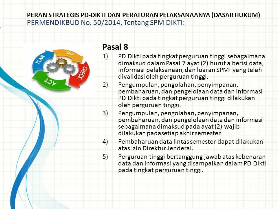 PERAN STRATEGIS PD-DIKTI DAN PERATURAN PELAKSANAANYA (DASAR HUKUM) PERMENDIKBUD No. 50/2014, Tentang SPM DIKTI: Pasal 8 1)PD Dikti pada tingkat pergur