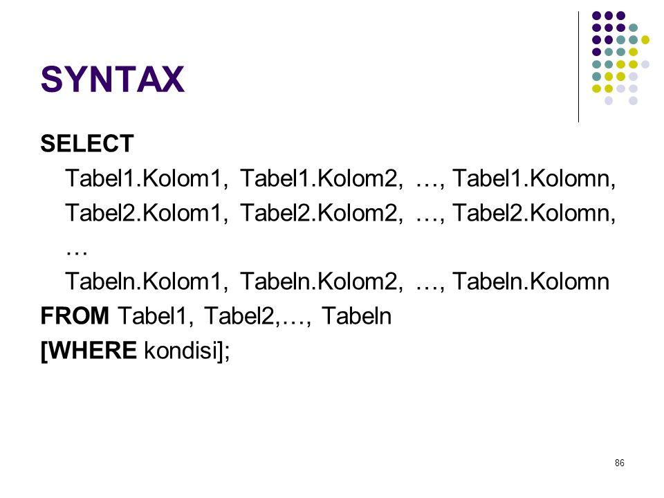 86 SYNTAX SELECT Tabel1.Kolom1, Tabel1.Kolom2, …, Tabel1.Kolomn, Tabel2.Kolom1, Tabel2.Kolom2, …, Tabel2.Kolomn, … Tabeln.Kolom1, Tabeln.Kolom2, …, Tabeln.Kolomn FROM Tabel1, Tabel2,…, Tabeln [WHERE kondisi];