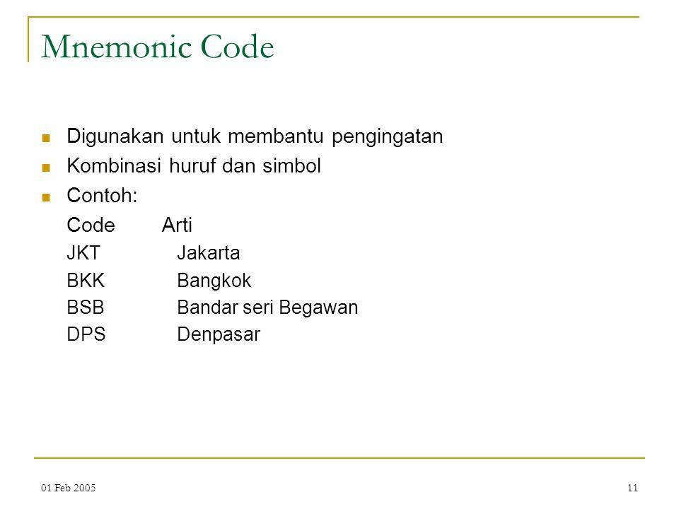 01 Feb 200511 Mnemonic Code Digunakan untuk membantu pengingatan Kombinasi huruf dan simbol Contoh: Code Arti JKT Jakarta BKK Bangkok BSB Bandar seri