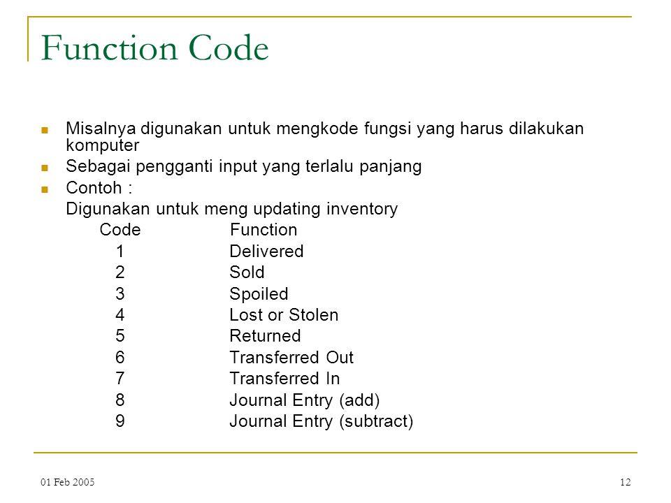 01 Feb 200512 Function Code Misalnya digunakan untuk mengkode fungsi yang harus dilakukan komputer Sebagai pengganti input yang terlalu panjang Contoh