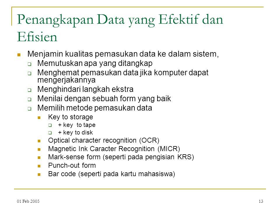 01 Feb 200513 Penangkapan Data yang Efektif dan Efisien Menjamin kualitas pemasukan data ke dalam sistem,  Memutuskan apa yang ditangkap  Menghemat