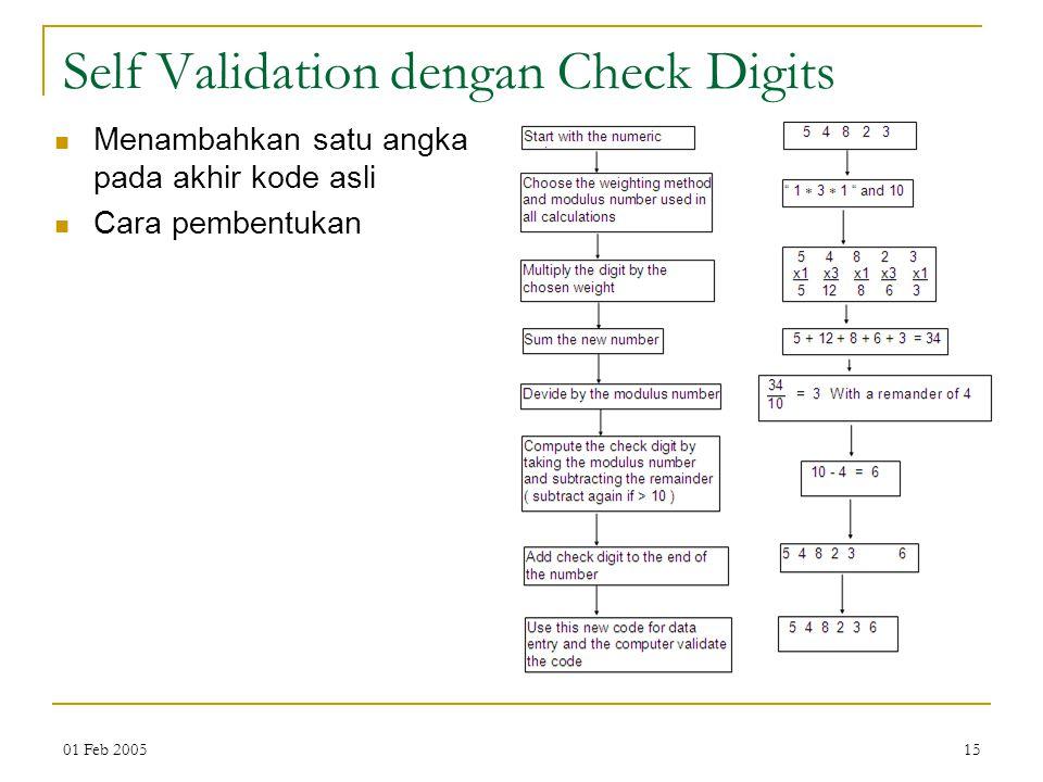 01 Feb 200515 Self Validation dengan Check Digits Menambahkan satu angka pada akhir kode asli Cara pembentukan