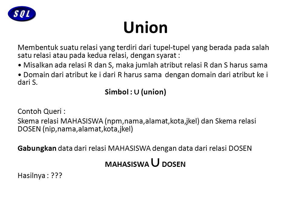 Union Membentuk suatu relasi yang terdiri dari tupel-tupel yang berada pada salah satu relasi atau pada kedua relasi, dengan syarat : Misalkan ada rel