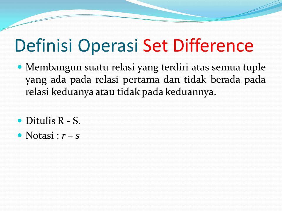 Contoh Ilustrasi Operasi Set Difference