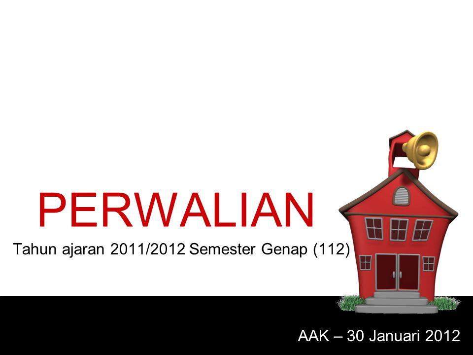 PERWALIAN Tahun ajaran 2011/2012 Semester Genap (112) AAK – 30 Januari 2012