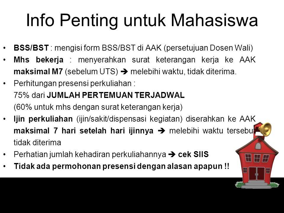 Info Penting untuk Mahasiswa BSS/BST : mengisi form BSS/BST di AAK (persetujuan Dosen Wali) Mhs bekerja : menyerahkan surat keterangan kerja ke AAK ma