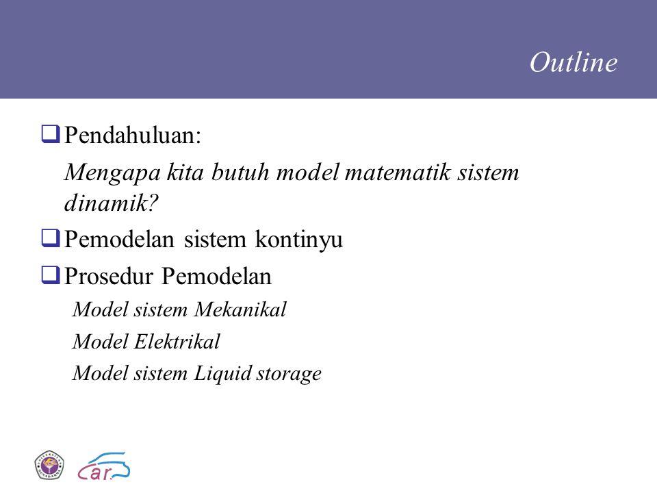Outline  Pendahuluan: Mengapa kita butuh model matematik sistem dinamik?  Pemodelan sistem kontinyu  Prosedur Pemodelan Model sistem Mekanikal Mode
