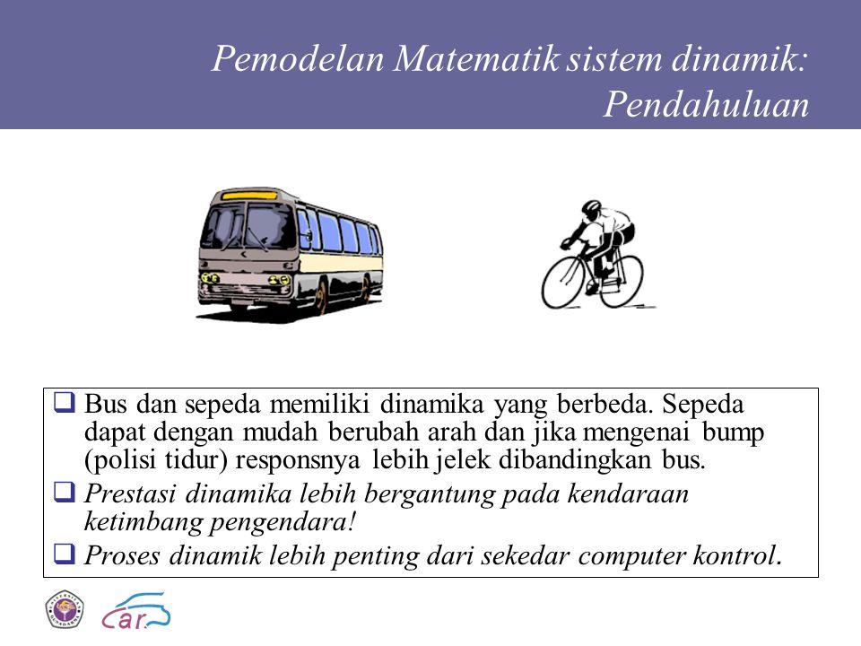 Pemodelan Matematik sistem dinamik: Pendahuluan  Bus dan sepeda memiliki dinamika yang berbeda. Sepeda dapat dengan mudah berubah arah dan jika menge