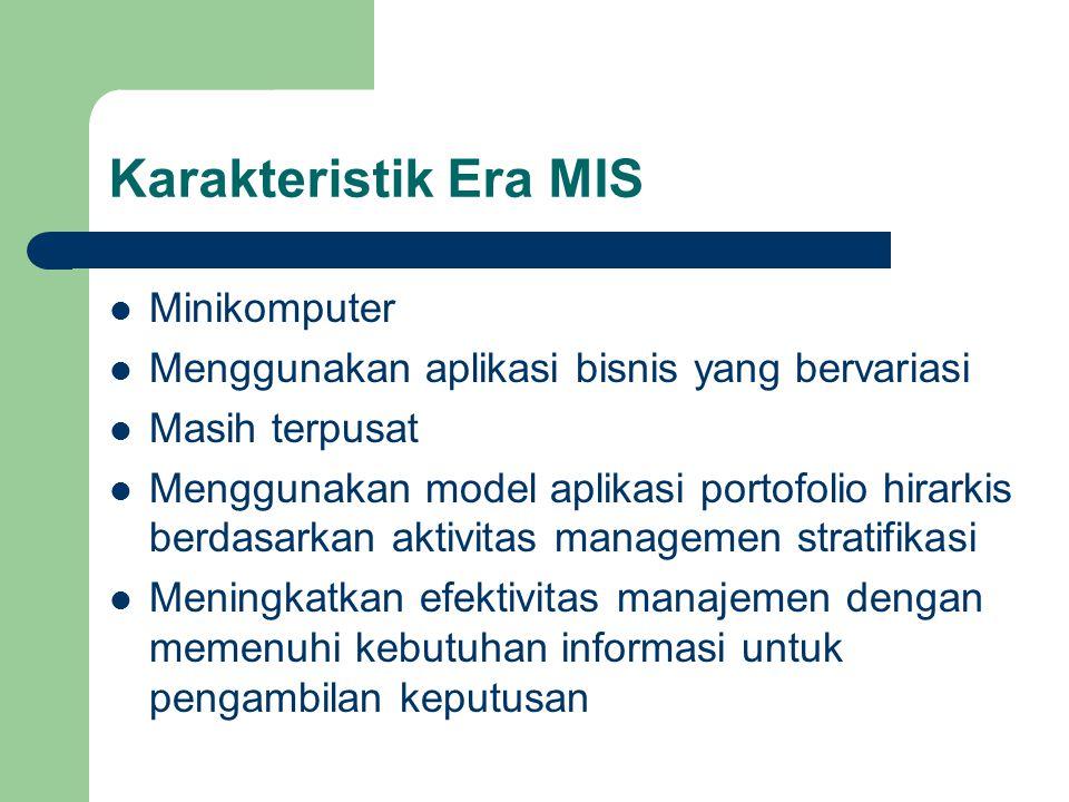 Karakteristik Era MIS Minikomputer Menggunakan aplikasi bisnis yang bervariasi Masih terpusat Menggunakan model aplikasi portofolio hirarkis berdasark