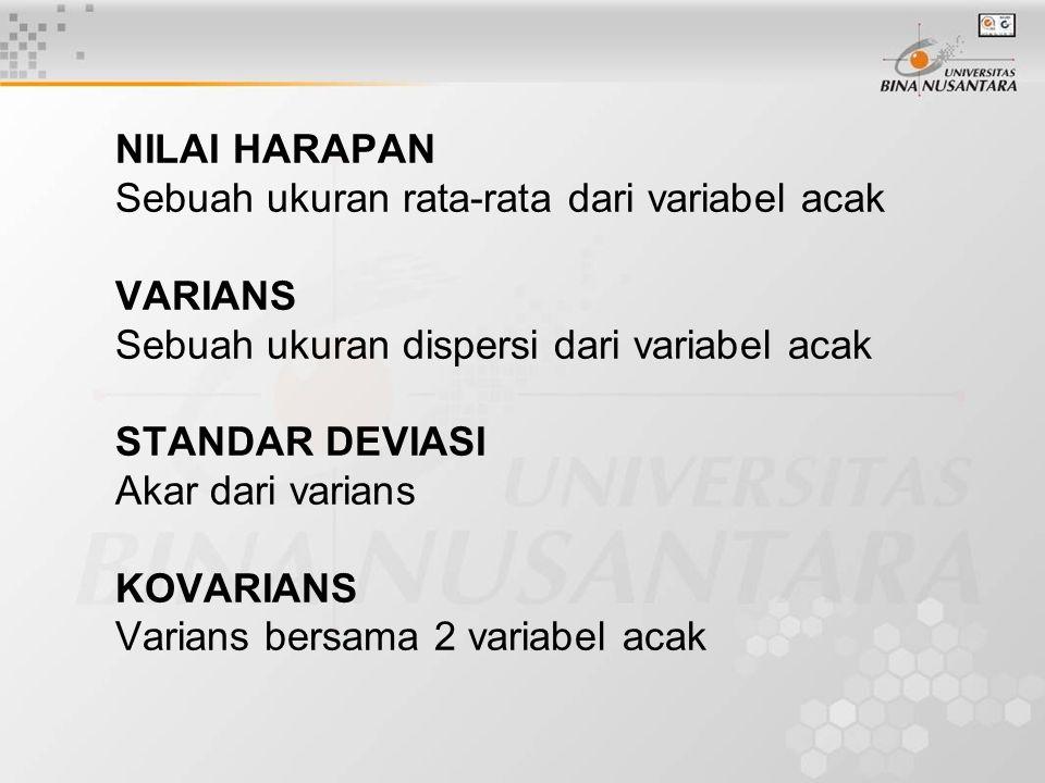NILAI HARAPAN Sebuah ukuran rata-rata dari variabel acak VARIANS Sebuah ukuran dispersi dari variabel acak STANDAR DEVIASI Akar dari varians KOVARIANS