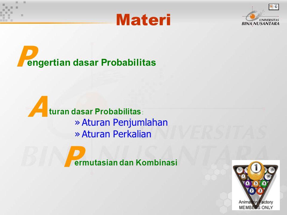Materi engertian dasar Probabilitas turan dasar Probabilitas : »Aturan Penjumlahan »Aturan Perkalian ermutasian dan Kombinasi P P A