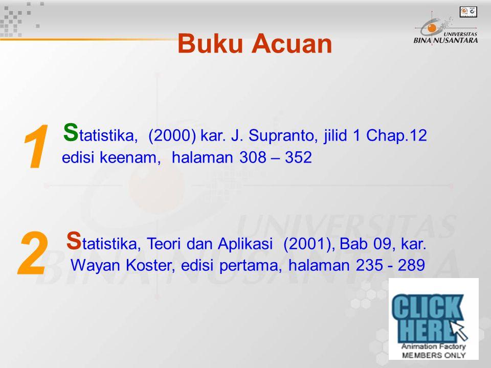S tatistika, (2000) kar. J. Supranto, jilid 1 Chap.12 edisi keenam, halaman 308 – 352 S tatistika, Teori dan Aplikasi (2001), Bab 09, kar. Wayan Koste