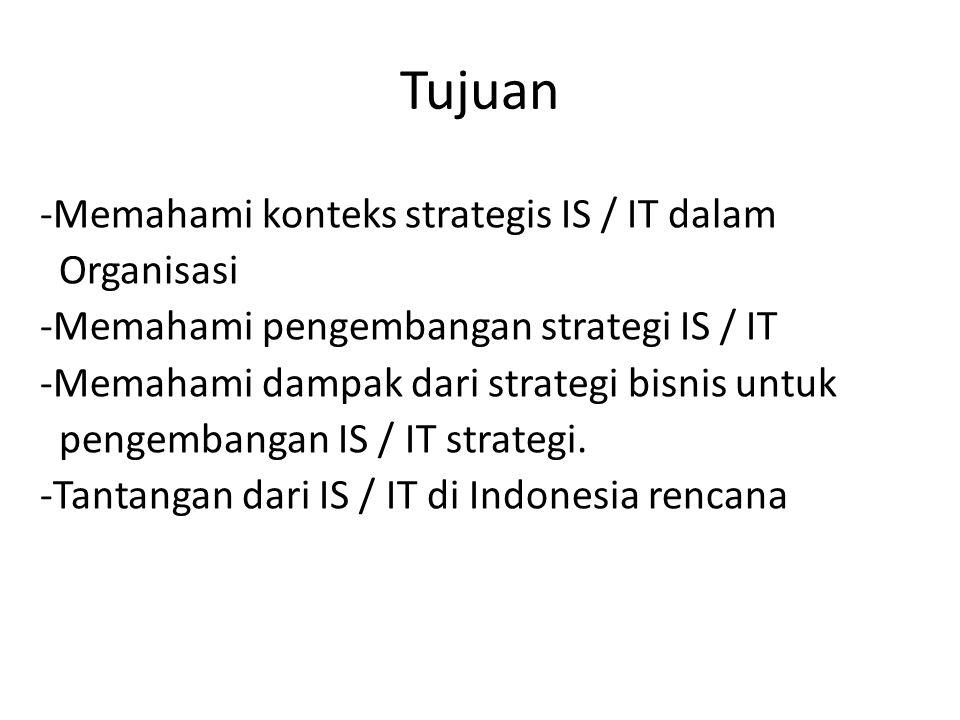 Tujuan -Memahami konteks strategis IS / IT dalam Organisasi -Memahami pengembangan strategi IS / IT -Memahami dampak dari strategi bisnis untuk pengem