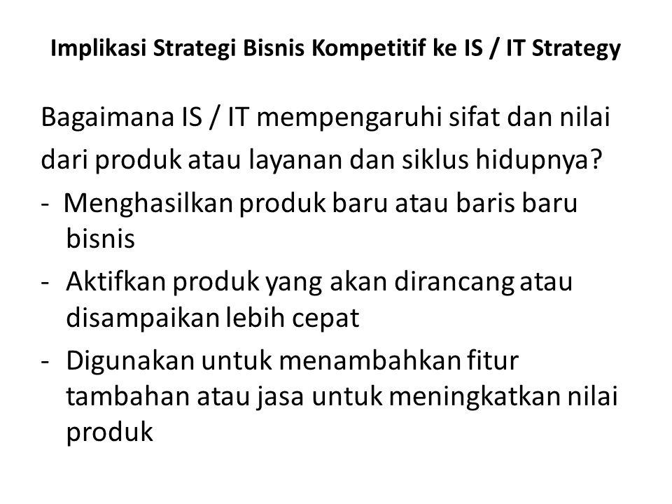 Implikasi Strategi Bisnis Kompetitif ke IS / IT Strategy Bagaimana IS / IT mempengaruhi sifat dan nilai dari produk atau layanan dan siklus hidupnya?
