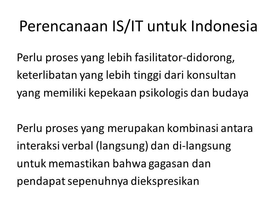Perencanaan IS/IT untuk Indonesia Perlu proses yang lebih fasilitator-didorong, keterlibatan yang lebih tinggi dari konsultan yang memiliki kepekaan p