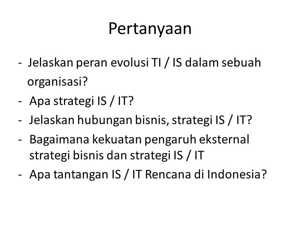 Pertanyaan - Jelaskan peran evolusi TI / IS dalam sebuah organisasi? -Apa strategi IS / IT? -Jelaskan hubungan bisnis, strategi IS / IT? -Bagaimana ke
