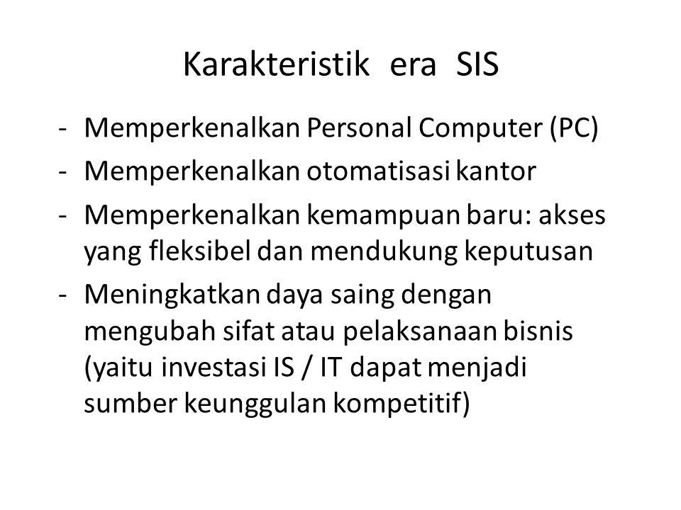 Karakteristik era SIS -Memperkenalkan Personal Computer (PC) -Memperkenalkan otomatisasi kantor -Memperkenalkan kemampuan baru: akses yang fleksibel d