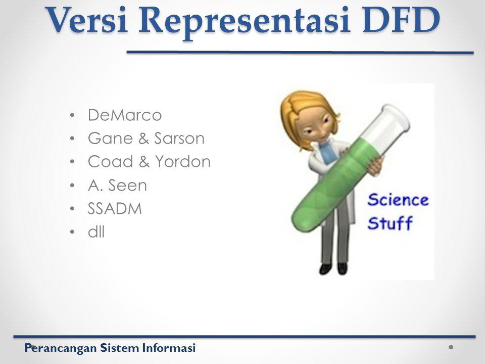 Perancangan Sistem Informasi Versi Representasi DFD DeMarco Gane & Sarson Coad & Yordon A. Seen SSADM dll