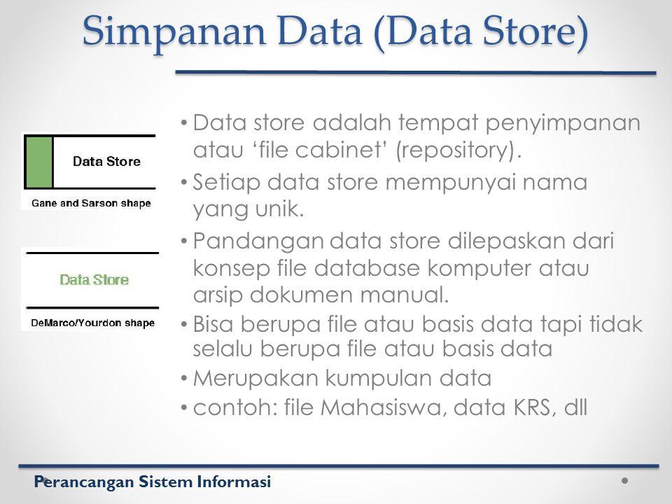 Perancangan Sistem Informasi Simpanan Data (Data Store) Data store adalah tempat penyimpanan atau 'file cabinet' (repository). Setiap data store mempu