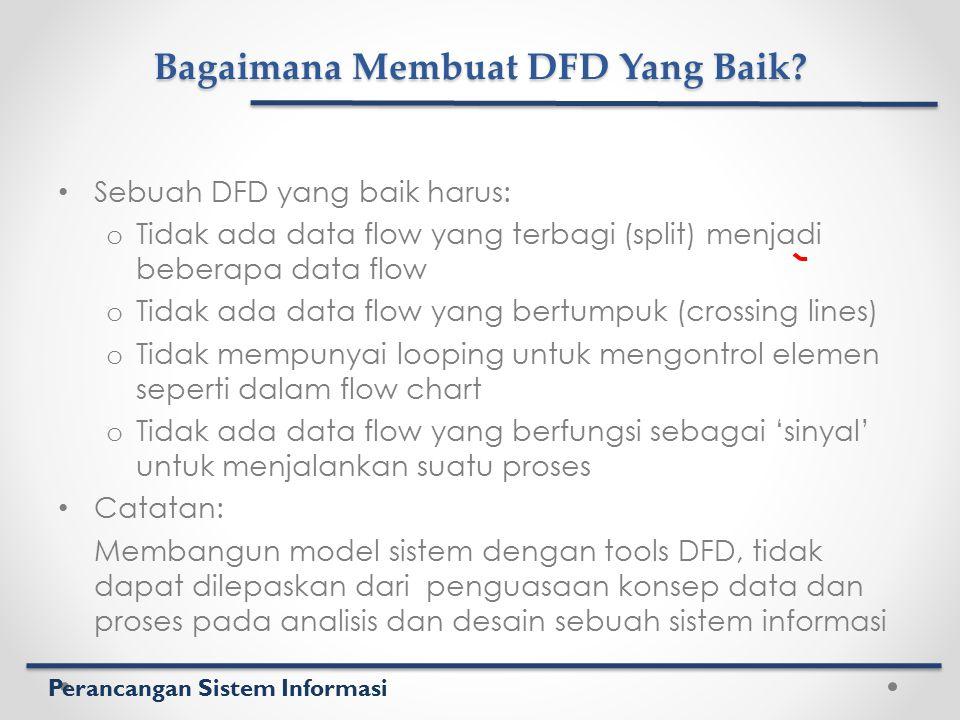 Perancangan Sistem Informasi Bagaimana Membuat DFD Yang Baik? Sebuah DFD yang baik harus: o Tidak ada data flow yang terbagi (split) menjadi beberapa