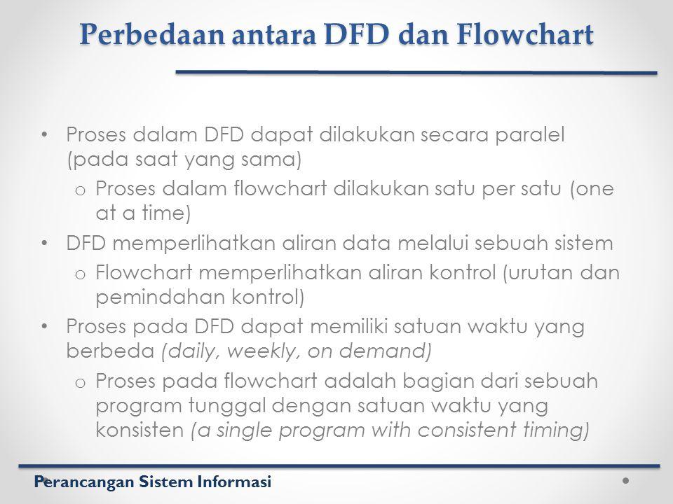 Perancangan Sistem Informasi Perbedaan antara DFD dan Flowchart Proses dalam DFD dapat dilakukan secara paralel (pada saat yang sama) o Proses dalam f