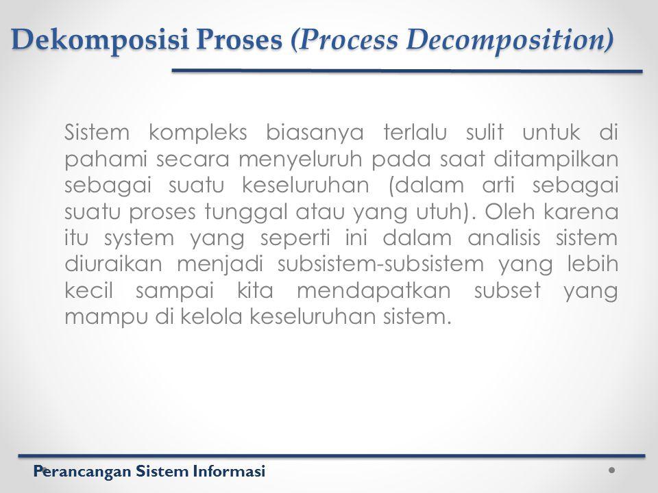 Perancangan Sistem Informasi Dekomposisi Proses (Process Decomposition) Sistem kompleks biasanya terlalu sulit untuk di pahami secara menyeluruh pada