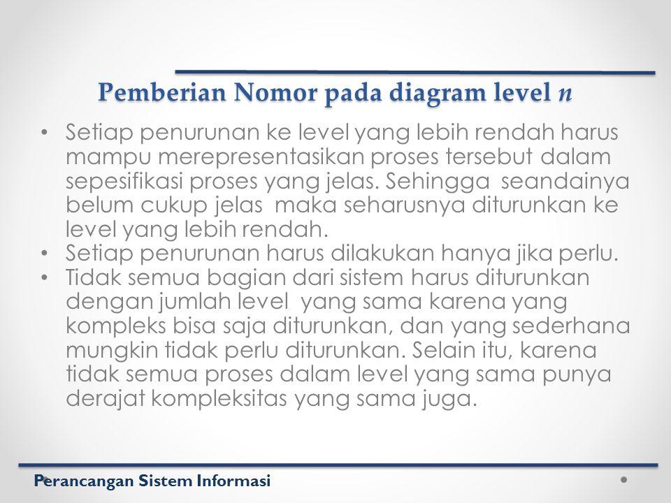 Perancangan Sistem Informasi Pemberian Nomor pada diagram level n Setiap penurunan ke level yang lebih rendah harus mampu merepresentasikan proses ter