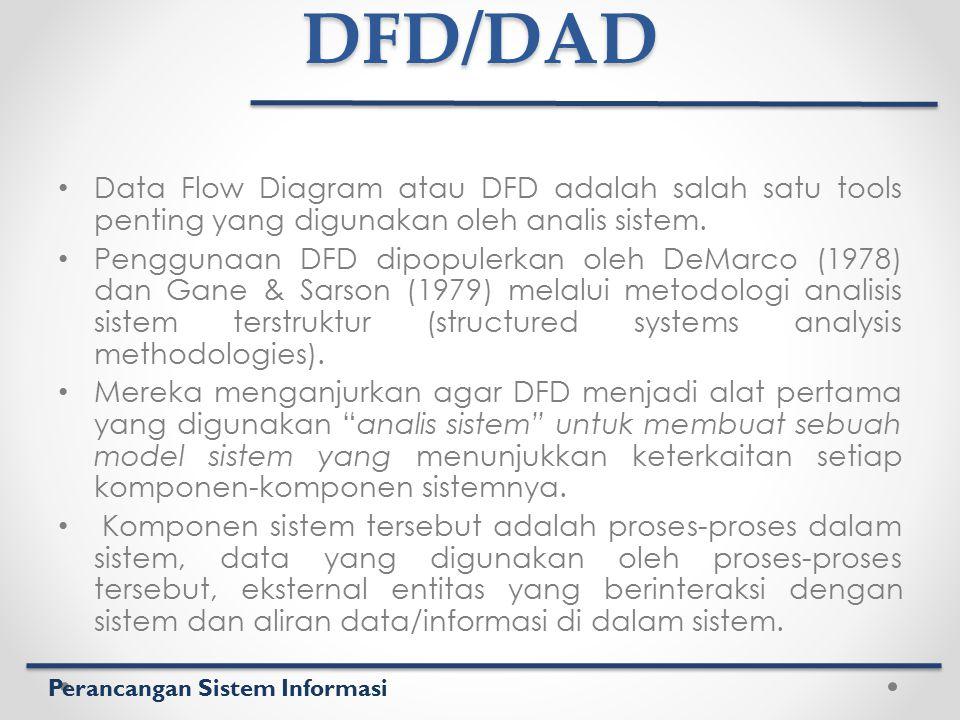Perancangan Sistem InformasiDFD/DAD Data Flow Diagram atau DFD adalah salah satu tools penting yang digunakan oleh analis sistem. Penggunaan DFD dipop