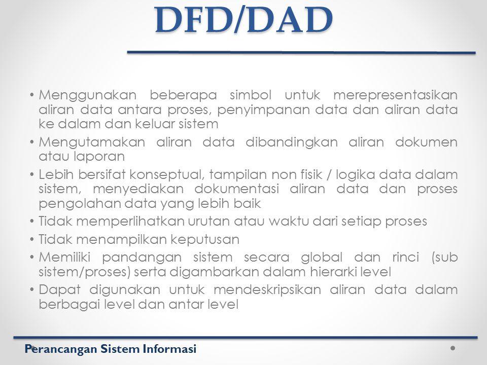 Perancangan Sistem InformasiDFD/DAD Menggunakan beberapa simbol untuk merepresentasikan aliran data antara proses, penyimpanan data dan aliran data ke