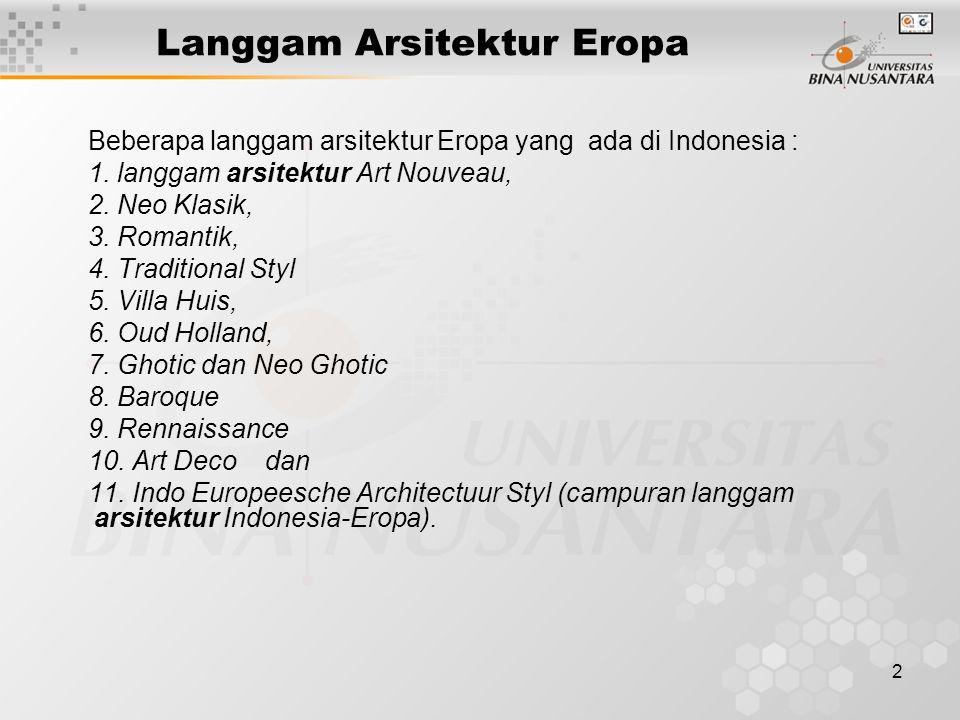 2 Langgam Arsitektur Eropa Beberapa langgam arsitektur Eropa yang ada di Indonesia : 1. langgam arsitektur Art Nouveau, 2. Neo Klasik, 3. Romantik, 4.