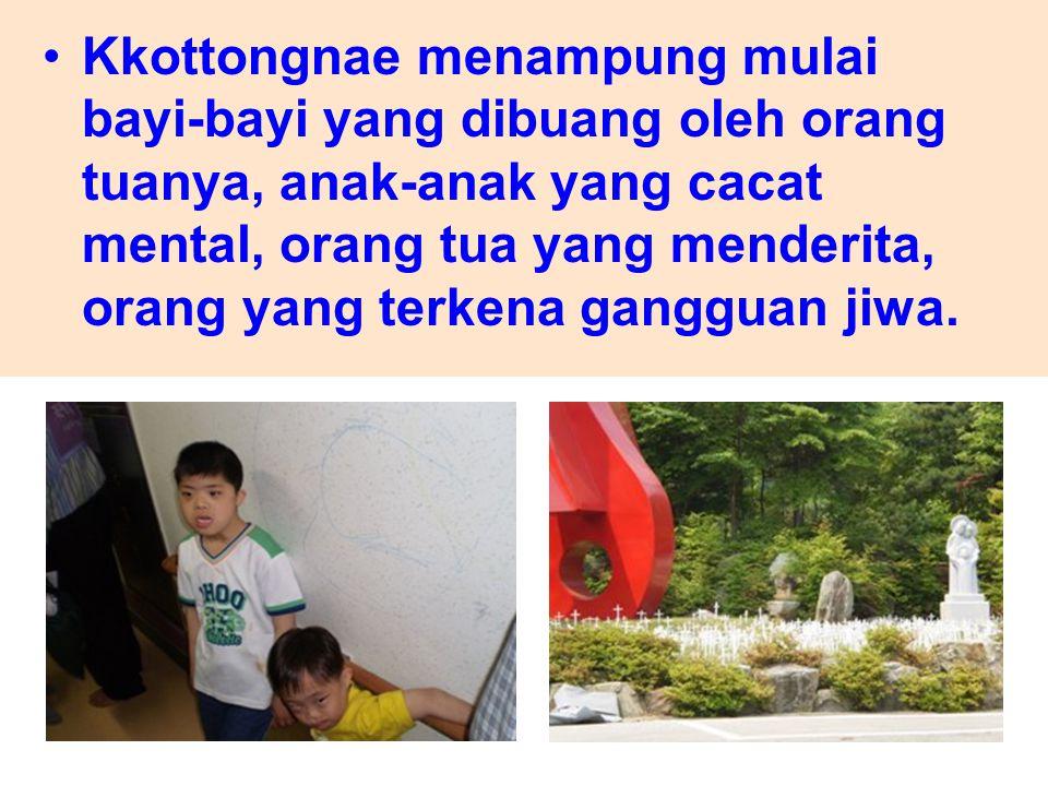 Kkottongnae menampung mulai bayi-bayi yang dibuang oleh orang tuanya, anak-anak yang cacat mental, orang tua yang menderita, orang yang terkena ganggu