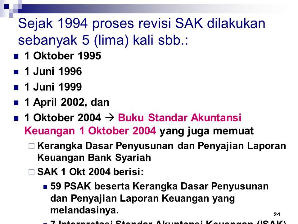 24 Sejak 1994 proses revisi SAK dilakukan sebanyak 5 (lima) kali sbb.: 1 Oktober 1995 1 Juni 1996 1 Juni 1999 1 April 2002, dan 1 Oktober 2004  Buku