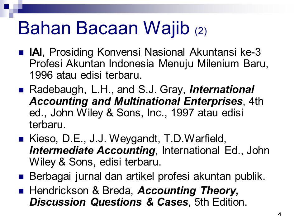 4 Bahan Bacaan Wajib (2) IAI, Prosiding Konvensi Nasional Akuntansi ke-3 Profesi Akuntan Indonesia Menuju Milenium Baru, 1996 atau edisi terbaru. Rade