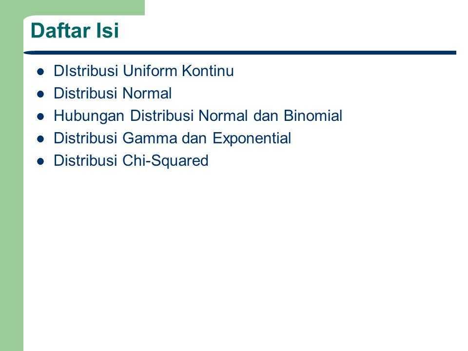 Daftar Isi DIstribusi Uniform Kontinu Distribusi Normal Hubungan Distribusi Normal dan Binomial Distribusi Gamma dan Exponential Distribusi Chi-Squared