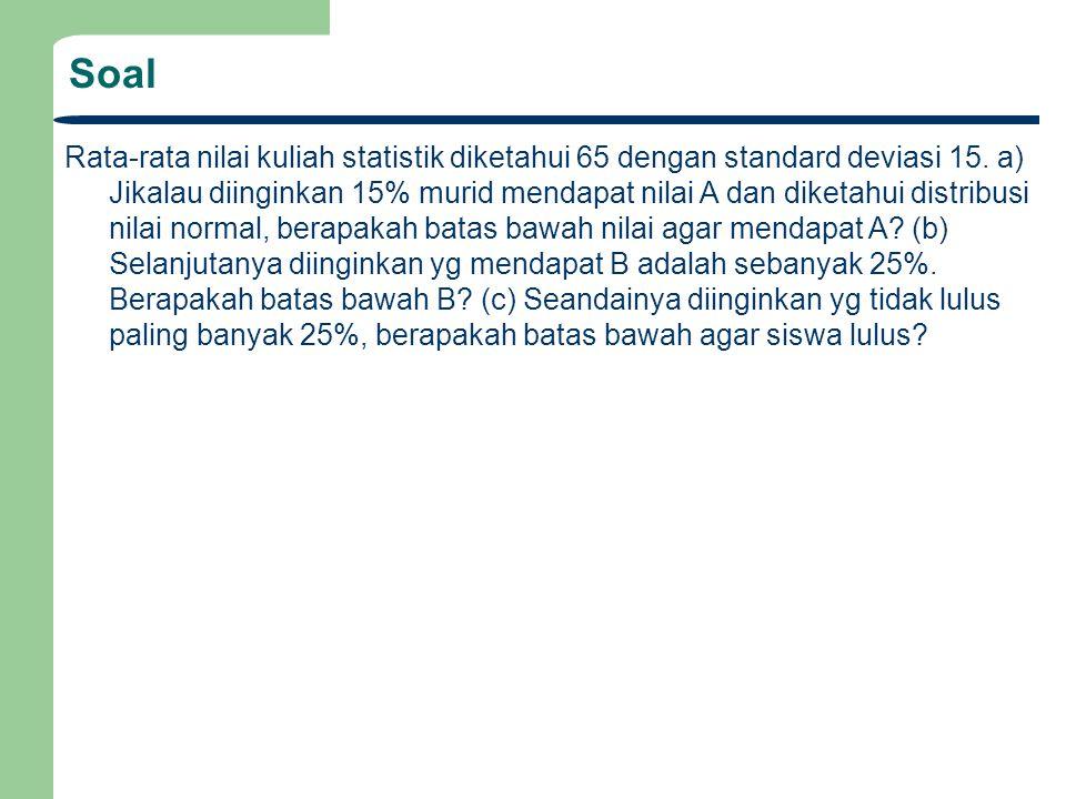 Soal Rata-rata nilai kuliah statistik diketahui 65 dengan standard deviasi 15.