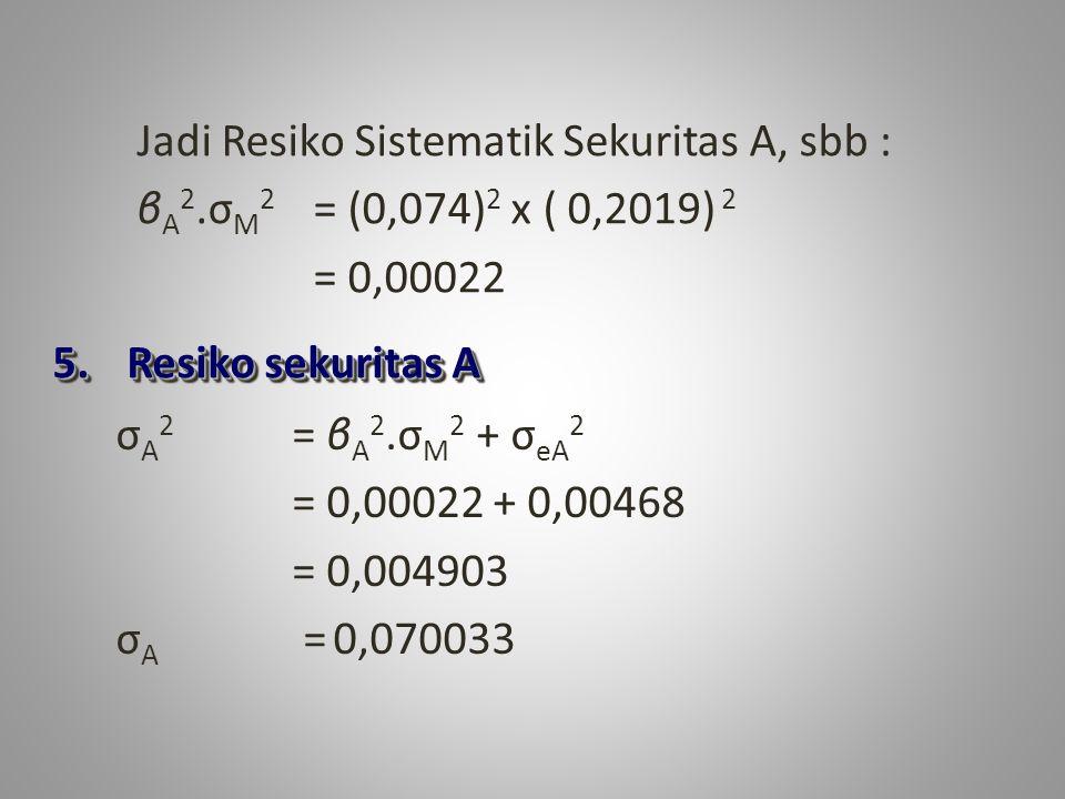 5. Resiko sekuritas A Jadi Resiko Sistematik Sekuritas A, sbb : β A 2.σ M 2 = (0,074) 2 x ( 0,2019) 2 = 0,00022 σ A 2 = β A 2.σ M 2 + σ eA 2 = 0,00022