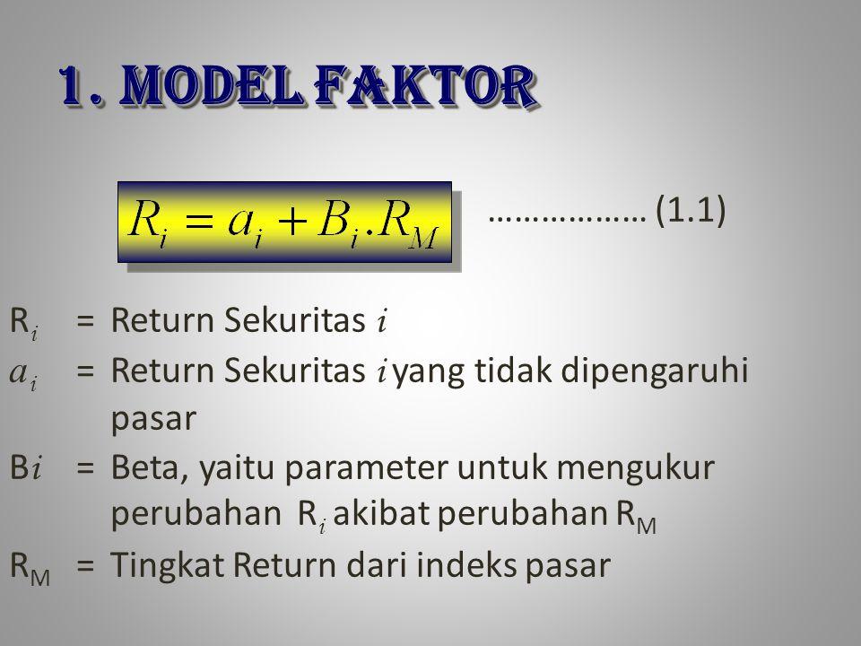 R i =Return Sekuritas i a i =Return Sekuritas i yang tidak dipengaruhi pasar B i =Beta, yaitu parameter untuk mengukur perubahan R i akibat perubahan R M R M =Tingkat Return dari indeks pasar ……………… (1.1) 1.MODEL FAKTOR