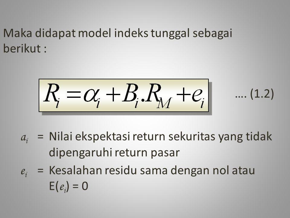 3.Varian dari Kesalahan Residu/Resiko tidak Sistematik (σ eA 2 ) σ eA 2 = Σ( e At - E( e A ) 2 / n - 1 = {(-0,0324- 0) 2 + (0,1173 - 0) 2 + (0,0299 - 0) 2 + (-0,0512- 0) 2 + (0,0080 - 0) 2 + (-0,0709 - 0) 2 } / 6 – 1 = 0,00768 / 5 = 0,00468