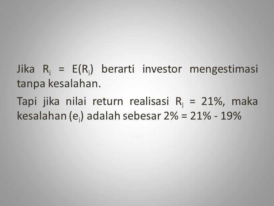 Jika R i = E(R i ) berarti investor mengestimasi tanpa kesalahan. Tapi jika nilai return realisasi R i = 21%, maka kesalahan (e i ) adalah sebesar 2%