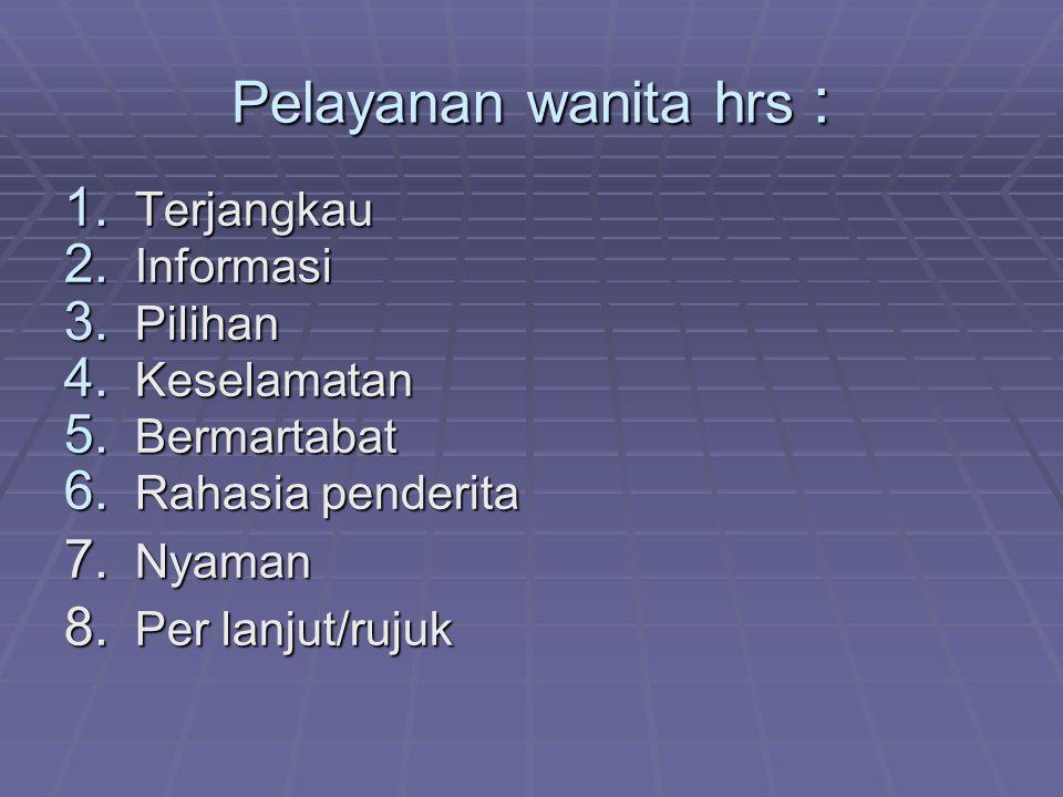 Pelayanan wanita hrs : 1. Terjangkau 2. Informasi 3. Pilihan 4. Keselamatan 5. Bermartabat 6. Rahasia penderita 7. Nyaman 8. Per lanjut/rujuk