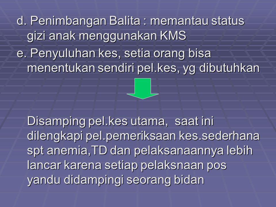 d. Penimbangan Balita : memantau status gizi anak menggunakan KMS e. Penyuluhan kes, setia orang bisa menentukan sendiri pel.kes, yg dibutuhkan Disamp